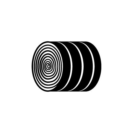 Ronde hooibaal - zwart-witte droge landbouwgewalste bundel van stro die op witte achtergrond wordt geïsoleerd. Boerderij natuurlijk element van hooiberg in platte vectorillustratie. Vector Illustratie