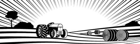 Tracteur agricole et balles de foin rondes dans un paysage rural avec des collines et des champs silhouette monochrome - transport sur les terres agricoles avec des rangées de plantes agricoles. Illustration vectorielle de campagne. Vecteurs