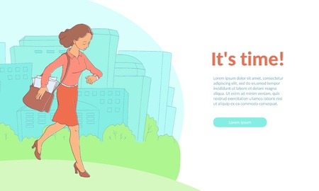 Late business woman hurrying up looking at watches holding suitcase poster template, its time inscription. Adult worker in red skirts, suit going to meeting, work. Vector illustration isolated Ilustração