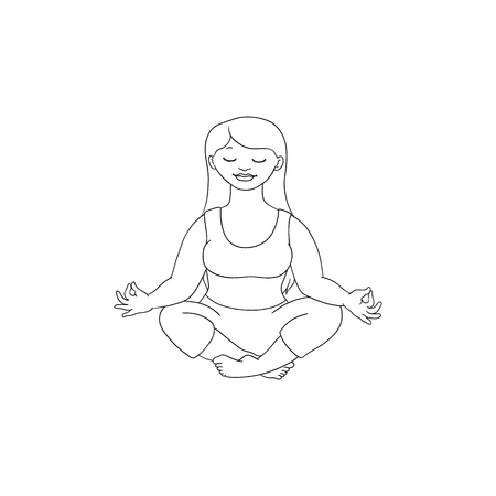 Hand drawn plump obese girl meditate in lotus posture in sport clothing. Sketch style cute female character. Vector adult blonde overweight woman having fun, isolated monochrome illustration