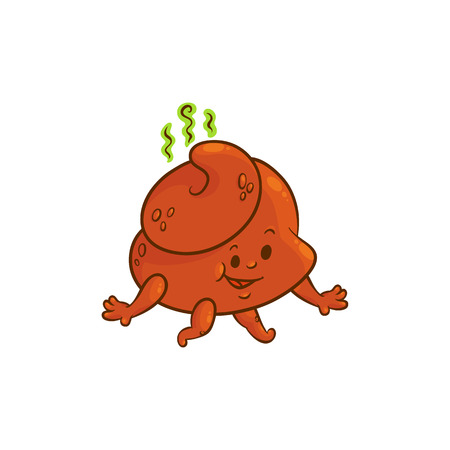 Cheerfu brown poop character with legs and arms running, having fun with happy facial expression. Funny smilling crap or shit excrement smiling. Vector flat isolated illustration.