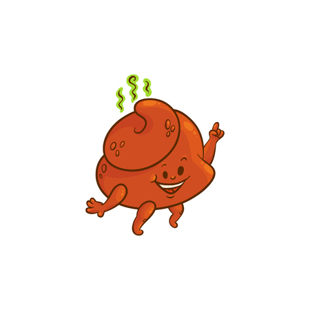 Cheerfu brown poop character with legs and arms dancing with happy facial expression. Funny smilling crap or shit excrement smiling. Vector flat isolated illustration.