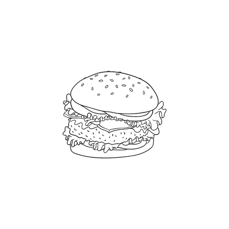 Big hamburger with beef, bun with sesame seeds and vegetables in sketch style isolated on white background - hand drawn black lines vector illustration of tasty lunch fastfood.