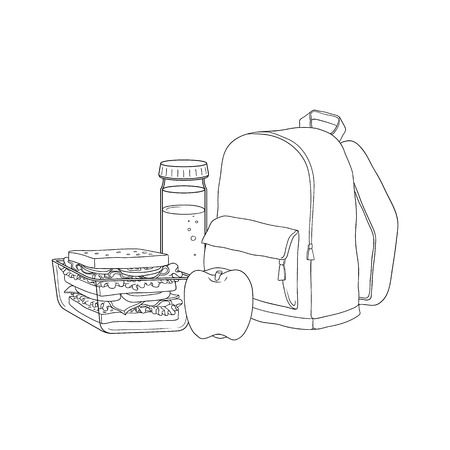 School backpack and food for lunch break. Sandwich in plastic container, red apple and bottle of water isolated on white background - hand drawn vector illustration of lunchbox for schoolchild.