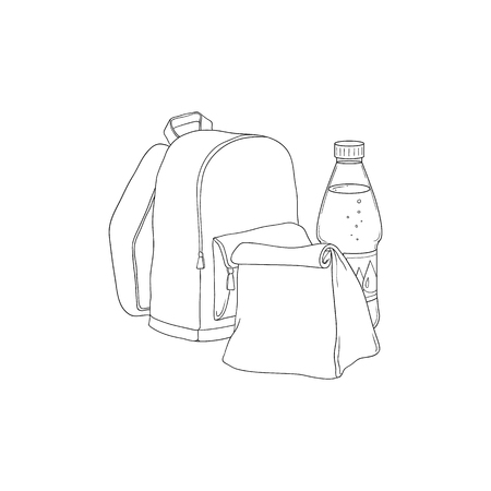 School backpack with paper lunch bag and bottle of water in sketch style isolated on white background - hand drawn vector illustration of lunchbox and drink for schoolchild.