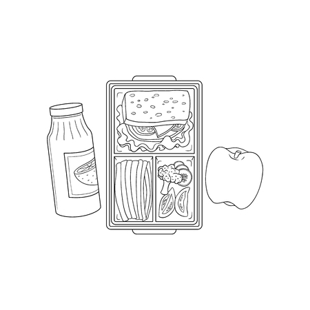Lunchbox with school or work lunch. Sandwich with vegetables in plastic container and apple with orange juice in sketch style isolated on white background, hand drawn vector illustration.