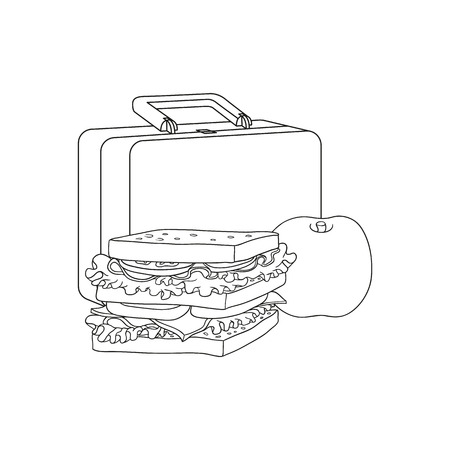 Plastic lunchbox with sandwich and apple for school or work break isolated on white background - black and white hand drawn vector illustration of lunch time food and package. Illustration