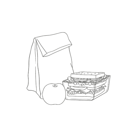 Paper lunch bag and sandwich in plastic container with apple for school or work break in sketch style isolated on white background - hand drawn vector illustration of lunchbox with food. Illustration