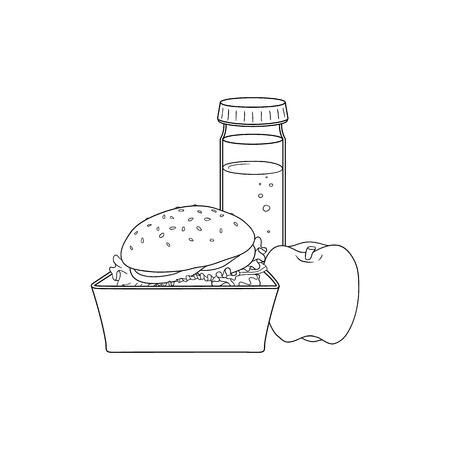 Lunch food box with hamburger, apple and bottle of water isolated on white background - open plastic container with sandwich and fruit for break. Sketch vector illustration of lunchbox.