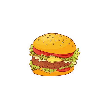 Big hamburger with beef, bun with sesame seeds and vegetables in sketch style isolated on white background. Hand drawn colorful vector illustration of tasty lunch fast food.
