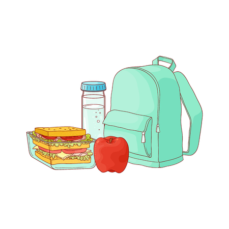 School backpack and food for lunch break - sandwich in plastic container, red apple and bottle of water isolated on white background. Hand drawn vector illustration of lunchbox for schoolchild.