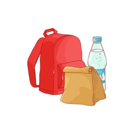 School backpack with paper lunch bag and bottle of water isolated on white background in sketch style. Hand drawn vector illustration of lunchbox and drink for schoolchild.