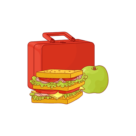 Plastic lunchbox with sandwich and apple for school or work break isolated on white background. Hand drawn vector illustration of lunch time food and package.