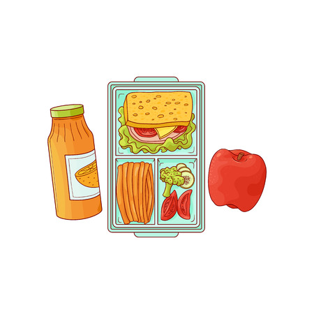 Lunchbox with school or work lunch - sandwich with vegetables in plastic container and apple with orange juice in sketch style isolated on white background. Hand drawn vector illustration. Illustration