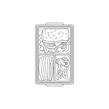 Lunchbox with food for lunch inside - sandwich and vegetables in plastic container isolated on white background. Hand drawn vector illustration of food in box for school or work break.