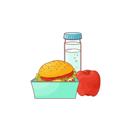 Lunch food box with hamburger, apple and bottle of water isolated on white background. Open plastic container with sandwich and fruit for break. Hand drawn vector illustration of lunchbox. Illustration