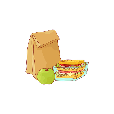 Paper lunch bag and sandwich in plastic container with apple for school or work break in sketch style isolated on white background. Hand drawn vector illustration of lunchbox with food.