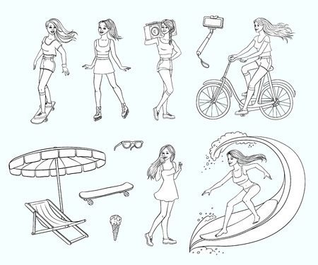 Pretty young redhead women summer leisure activity, equipment set. Beautiful characters, girl surfing, riding bicycle skateboard, eat ice cream, roller skating, boombox. Vector monochrome illustration
