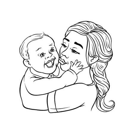 Young mother holding in arms and kissing her infant child isolated on white background - sketch colorful vector illustration of beautiful woman with smiling baby. loving family and motherhood concept. 일러스트