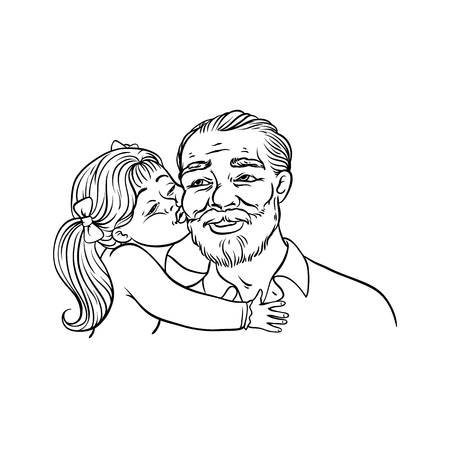 Kid girl kisses her grandfather on cheek isolated on white background - sketch black line vector illustration of happy grandparent and child. Hand drawn loving and friendly family concept.