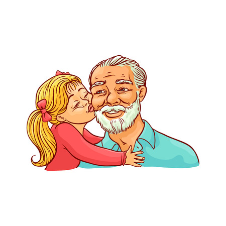 Kid girl kisses her grandfather on cheek isolated on white background. Sketch colorful vector illustration of happy grandparent and child. Loving and friendly family concept.