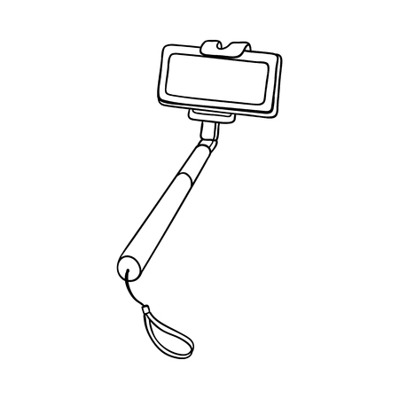 Selfie stick monopod holding modern mobile phone smartphone sketch icon. Self-portrait technology tool for making photo of yourself. Photography equipment object. Vector monochrome illustration