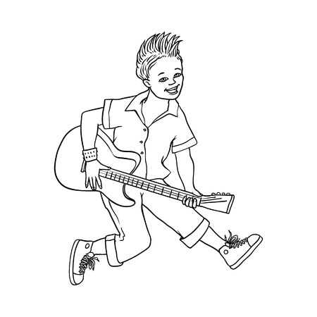 Young man playing electric guitar, Rock music, alternative punk style clothing jeans, mohawk haircut male character. Isolated sketch monochrome vector illustration