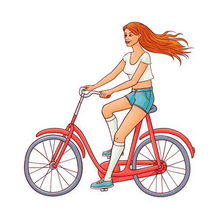 Pretty young redhead woman in denim shorts, summer clothing riding red vintage bicycle smiling. Beautiful female character, girl cycling at vacation. Vector sketch illustration isolated