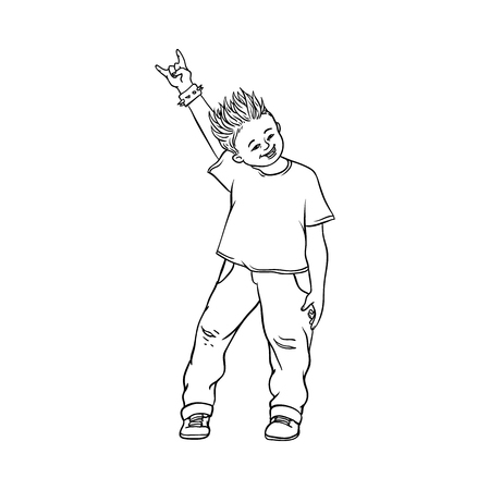 Young man raising hands up with rock sign gesture, Rock music, alternative punk style clothing jeans male character with mohawk haircut. Isolated vector monochrome sketch illustration Illustration