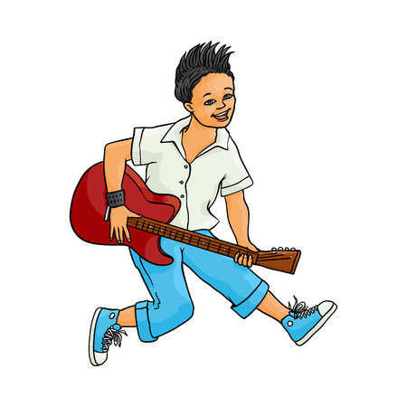 Young man playing electric guitar, Rock music, alternative punk style clothing jeans, mohawk haircut male character. Isolated sketch vector illustration, white background