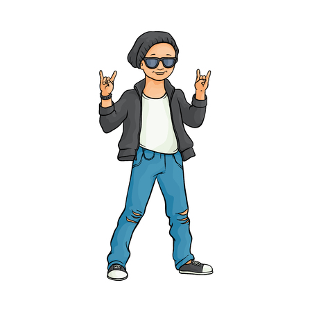 Young man raising hands up with rock sign gesture, Rock music, alternative punk style clothing black leather jacket, jeans male character in sunglasses. Isolated vector sketch illustration