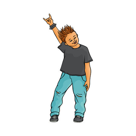 Young man raising hands up with rock sign gesture, Rock music, alternative punk style clothing jeans male character with mohawk haircut. Isolated vector sketch illustration