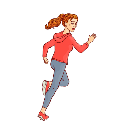 Young sportive girl in athletic clothing, running looking back. Beautiful female character, redhead woman runaway with afraid face. Isolated vector illustration in sketch style Illustration