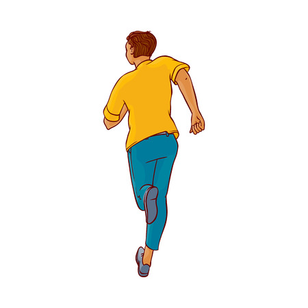 Young man in casual clothing, jeans running without looking back. Male character running with afraid face back view. Isolated vector illustration in sketch style
