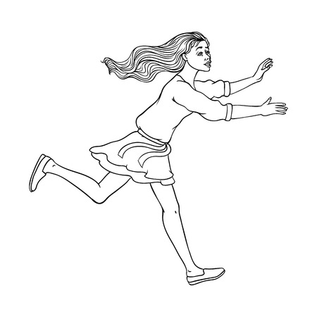 Young sportive girl in dress, running looking back. Beautiful female character, redhead woman runaway with afraid face. Isolated monochrome vector illustration in sketch style