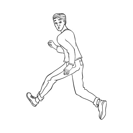Young man in casual clothing, jeans running looking back. Male character runaway with afraid face . Isolated monochrome vector illustration in sketch style
