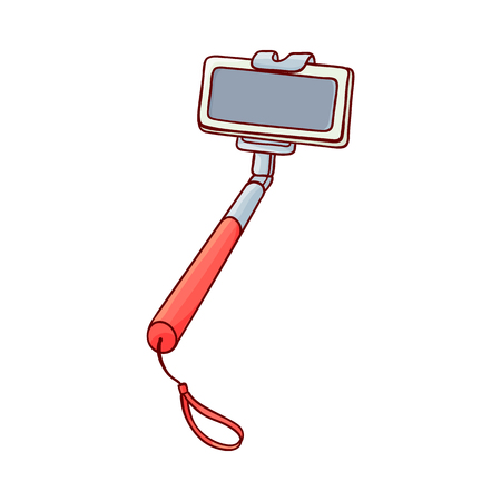 Selfie stick monopod with red handle holding modern mobile phone smartphone sketch icon. Self-portrait technology tool for making photo of yourself. Photography equipment object. Vector illustration