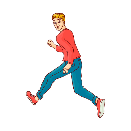 Young man in casual clothing, jeans running looking back. Male character runaway with afraid face . Isolated vector illustration in sketch style