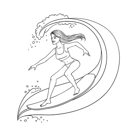 Pretty young woman in swimsuit riding the wave on surfboard smiling. Beautiful female character, girl surfing at summer vacation. Vector sketch monochrome illustration isolated Illustration