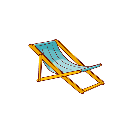 Pool, beach lounger sketch icon. Summer holiday travelling and vacation symbol. Advertising banner, poster design element. Isolated vector illustration