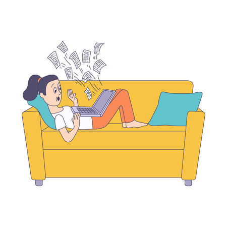 Puzzled young woman, teenager in casual clothing lying at sofa holding laptop computer with messages flying out. Modern digital technology people information overload concept. Vector illustration Illustration