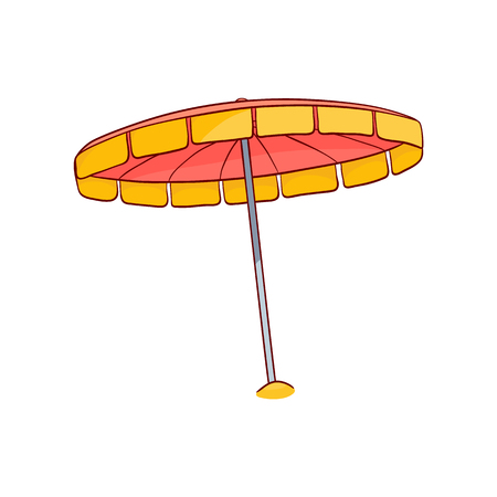 Sun umbrella, beach sunshade sun parasol sketch icon. Summer holiday travelling and vacation symbol. Advertising banner, poster design element. Isolated vector illustration Çizim