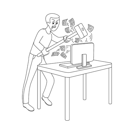 Angry man holding big hummer going to break desktop computer monitor flying out messages. Irritated male character furious about information overload. Vector monochrome sketch illustration isolated