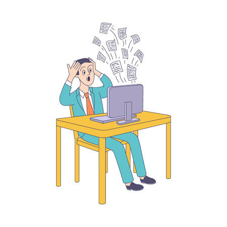 Puzzled young man sitting at table holding head behind desktop computer with messages flying out. Modern digital technology people information overload concept. Vector sketch illustration