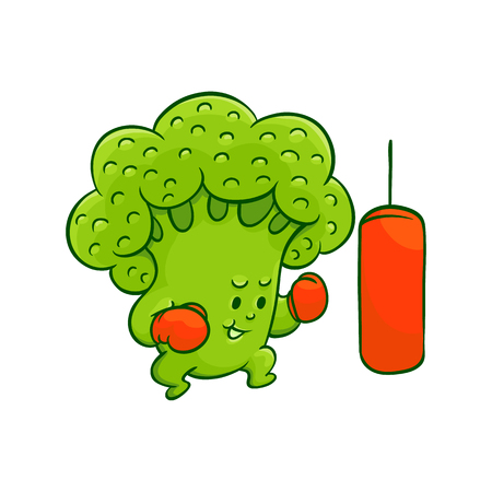 Cheerful broccoli character in boxing gloves workout with punching bag. Funny green vegetable healthy organic food full of vitamins. Cartoon hand drawn plant with arms, legs. Vector illustration