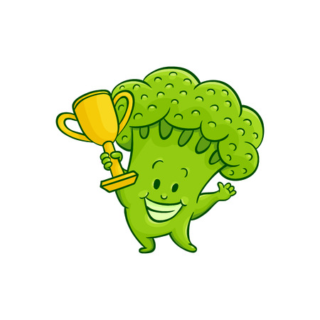 Cheerful broccoli character with winner golden cup trophy. Funny green vegetable cute healthy organic food full of vitamins. Cartoon smiling hand drawn plant with arms, legs. Vector illustration