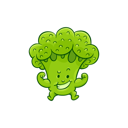 Cheerful broccoli character showing strong biceps muscles. Funny green vegetable cute healthy organic food full of vitamins. Cartoon smiling hand drawn plant with arms, legs. Vector illustration