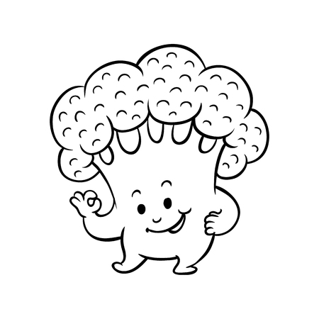 Cheerful broccoli character showing okey, ok gesture by fingers. Funny vegetable cute healthy organic food full of vitamins. Cartoon hand drawn plant with arms, legs. Vector monochrome illustration