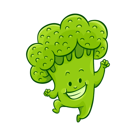 Cheerful broccoli character dancing, jumping and having fun. Funny green vegetable cute healthy organic food full of vitamins. Cartoon smiling hand drawn plant with arms, legs. Vector illustration