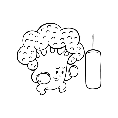 Cheerful broccoli character in boxing gloves workout with punching bag. Funny vegetable healthy organic food full of vitamins. Cartoon hand drawn plant with arms, legs. Vector monochrome illustration Illustration